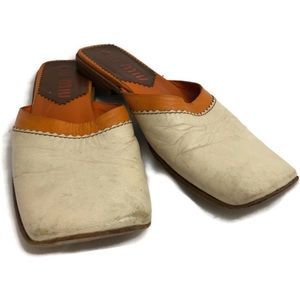 Vintage MIU MIU Cream/Orange Square Toe Mule shoes